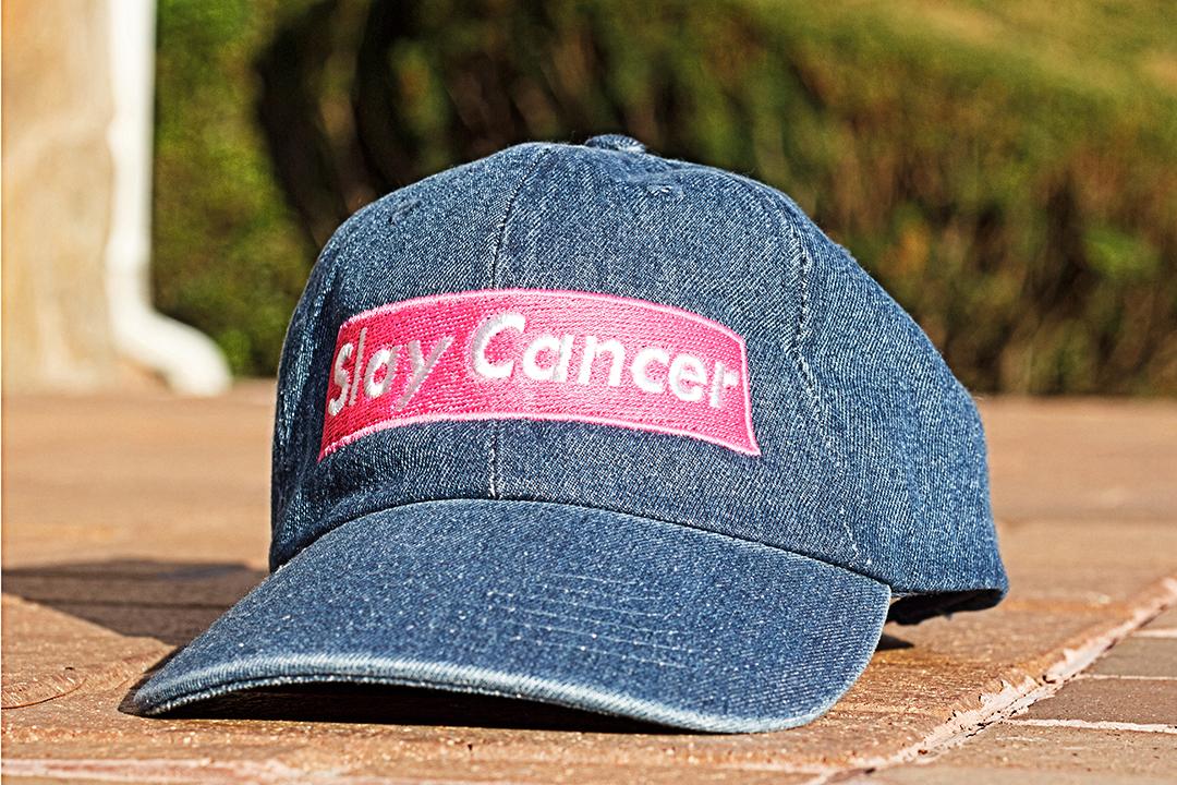 7d99d2ca63995 SLAY CANCER DAD HATS (DARK BLUE DENIM)