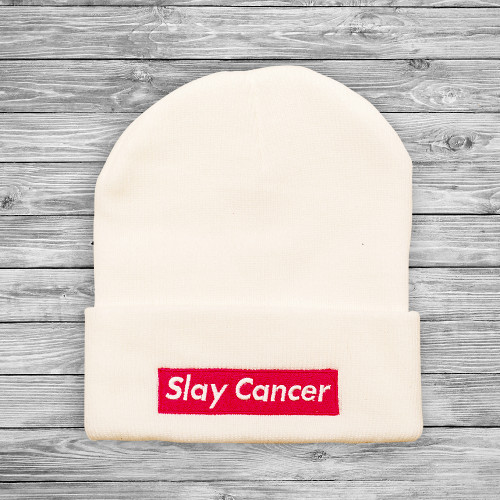 SlayCancer_Beanie_White_001
